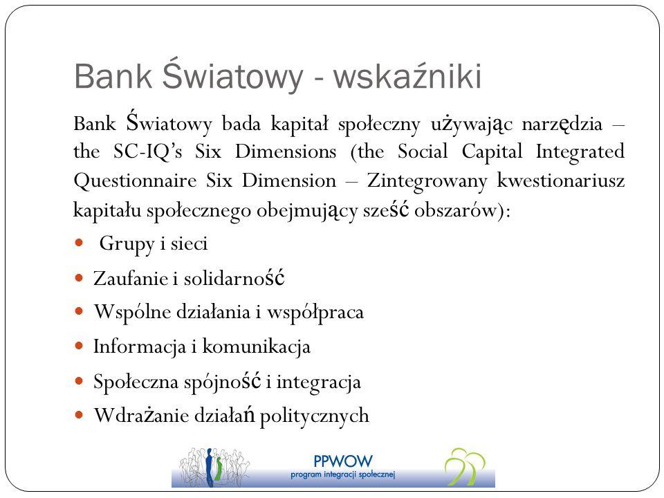 Bank Światowy - wskaźniki Bank Ś wiatowy bada kapitał społeczny u ż ywaj ą c narz ę dzia – the SC-IQs Six Dimensions (the Social Capital Integrated Qu