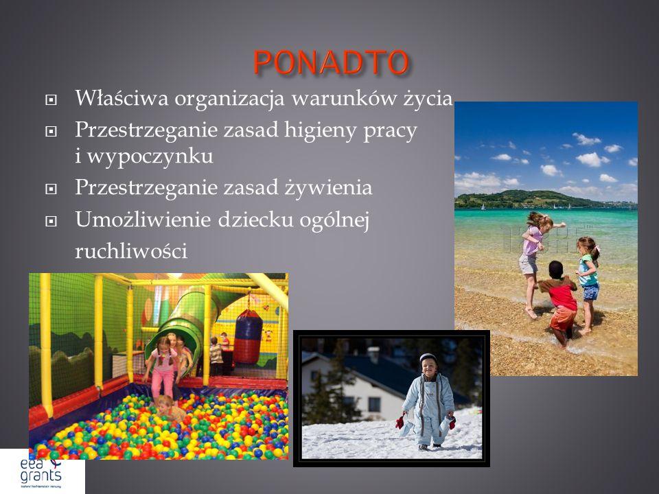 PONADTO Właściwa organizacja warunków życia Przestrzeganie zasad higieny pracy i wypoczynku Przestrzeganie zasad żywienia Umożliwienie dziecku ogólnej