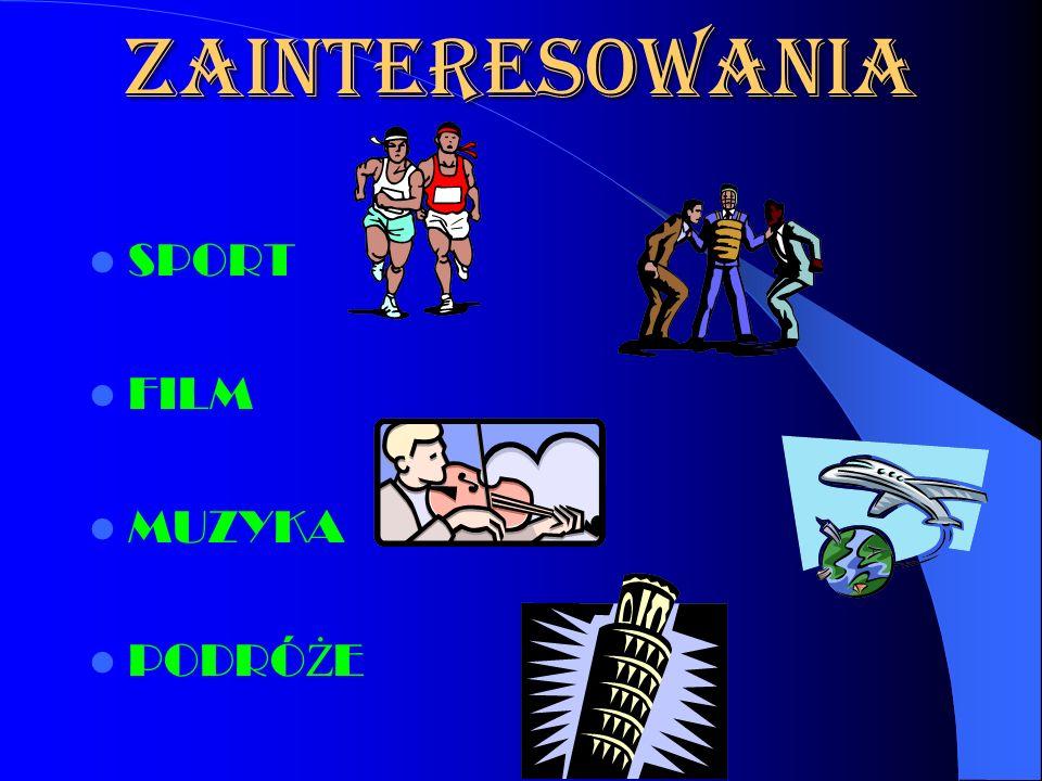 ZAINTERESOWANIA SPORT FILM MUZYKA PODRÓ Ż E
