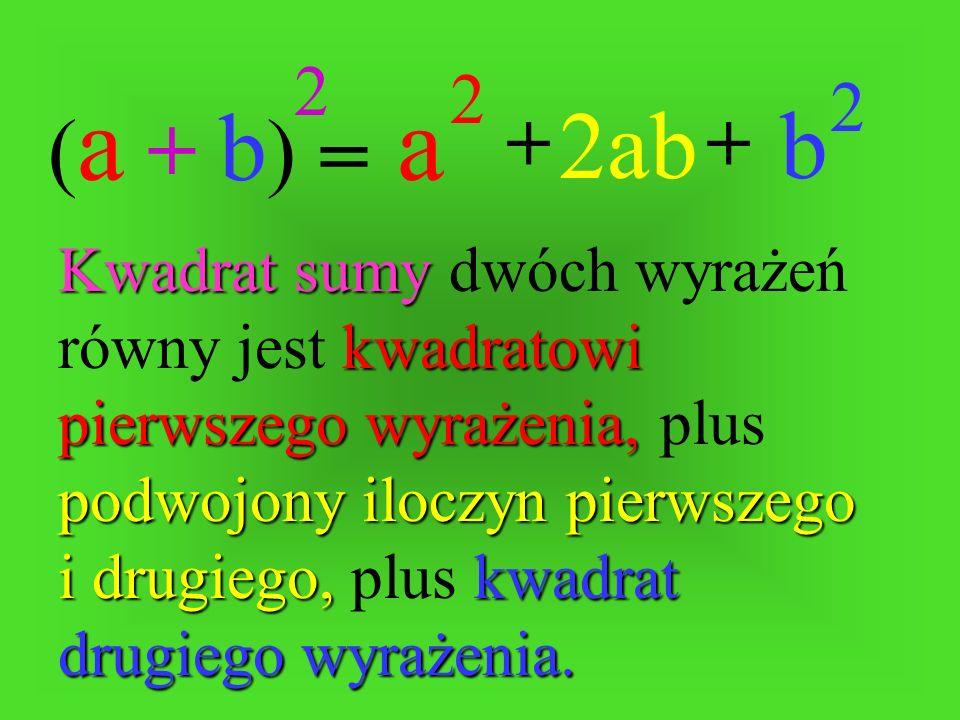 = ++ (a + b)(a + b) 2 a 2 b 2Kwadrat sumy sumy dwóch wyrażeń równy jest kwadratowi pierwszego wyrażenia, wyrażenia, plus podwojony iloczyn pierwszego