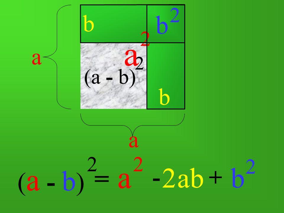 ( a - b ) 2 = a a b a 2 -+ ab b 2 (a - b) 2 2 b b 2 a 2