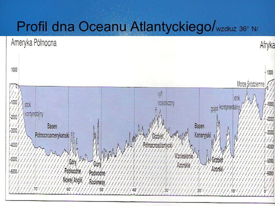 Profil dna Oceanu Atlantyckiego / wzdłuż 36° N/