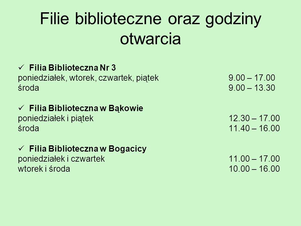 Filie biblioteczne oraz godziny otwarcia Filia Biblioteczna Nr 3 poniedziałek, wtorek, czwartek, piątek 9.00 – 17.00 środa 9.00 – 13.30 Filia Bibliote