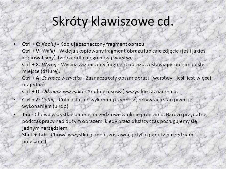 Skróty klawiszowe cd. Ctrl + C: Kopiuj - Kopiuje zaznaczony fragment obrazu. Ctrl + V: Wklej - Wkleja skopiowany fragment obrazu lub całe zdjęcie (jeś