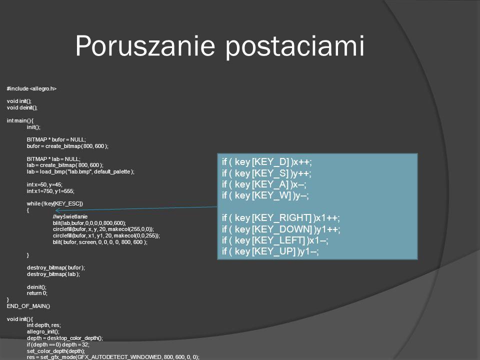 Poruszanie postaciami #include void init(); void deinit(); int main() { init(); BITMAP * bufor = NULL; bufor = create_bitmap( 800, 600 ); BITMAP * lab
