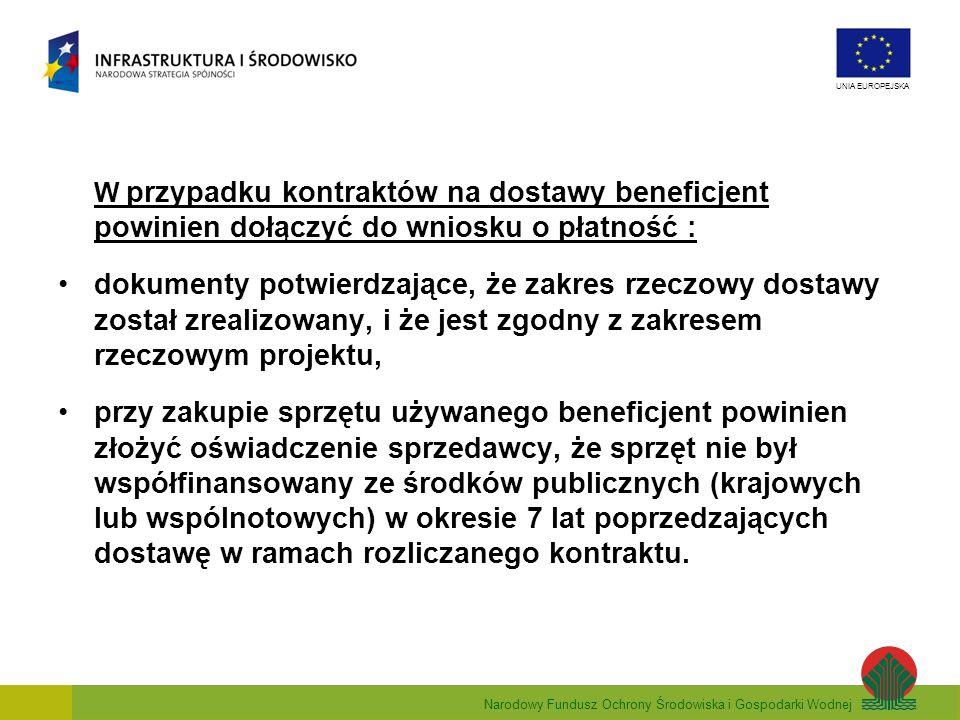 Narodowy Fundusz Ochrony Środowiska i Gospodarki Wodnej UNIA EUROPEJSKA W przypadku kontraktów na dostawy beneficjent powinien dołączyć do wniosku o p