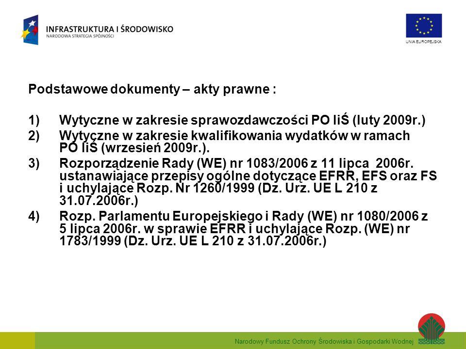 Narodowy Fundusz Ochrony Środowiska i Gospodarki Wodnej UNIA EUROPEJSKA Podstawowe dokumenty – akty prawne : 1)Wytyczne w zakresie sprawozdawczości PO
