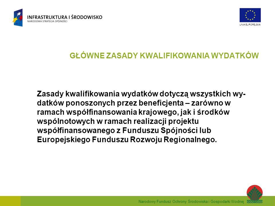 Narodowy Fundusz Ochrony Środowiska i Gospodarki Wodnej UNIA EUROPEJSKA Zasady kwalifikowania wydatków dotyczą wszystkich wy- datków ponoszonych przez