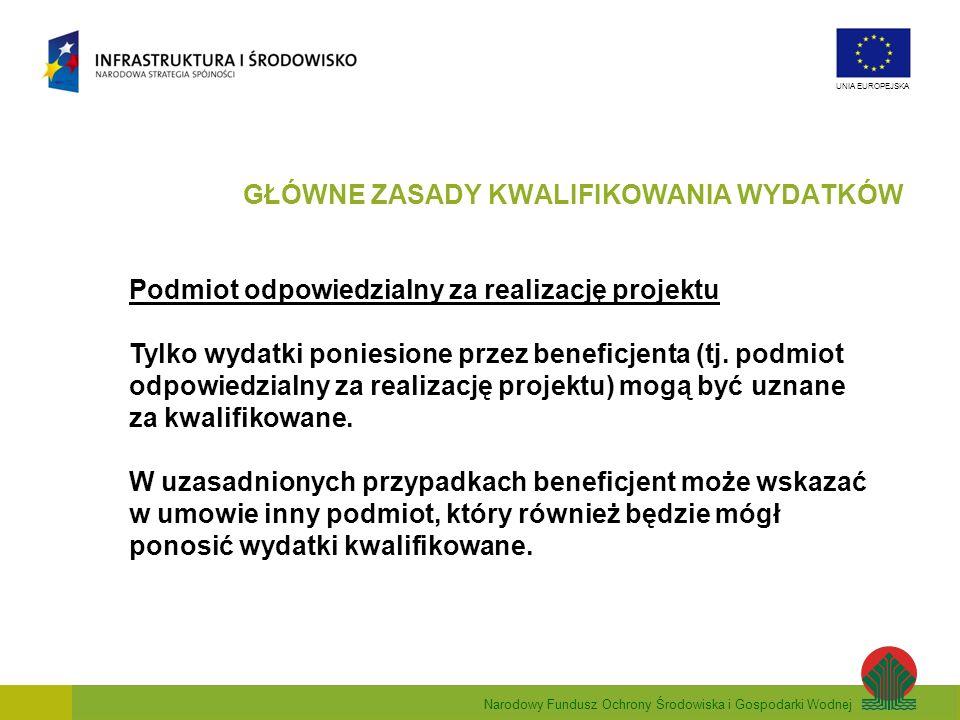 Narodowy Fundusz Ochrony Środowiska i Gospodarki Wodnej UNIA EUROPEJSKA Podmiot odpowiedzialny za realizację projektu Tylko wydatki poniesione przez b