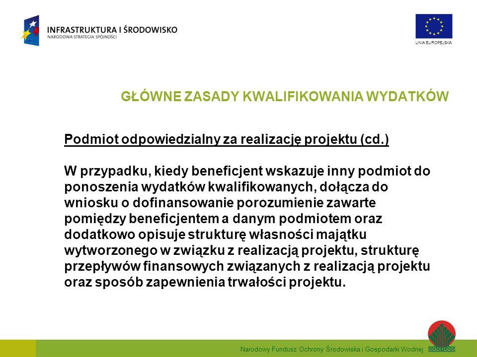 Narodowy Fundusz Ochrony Środowiska i Gospodarki Wodnej UNIA EUROPEJSKA Podmiot odpowiedzialny za realizację projektu (cd.) W przypadku, kiedy benefic