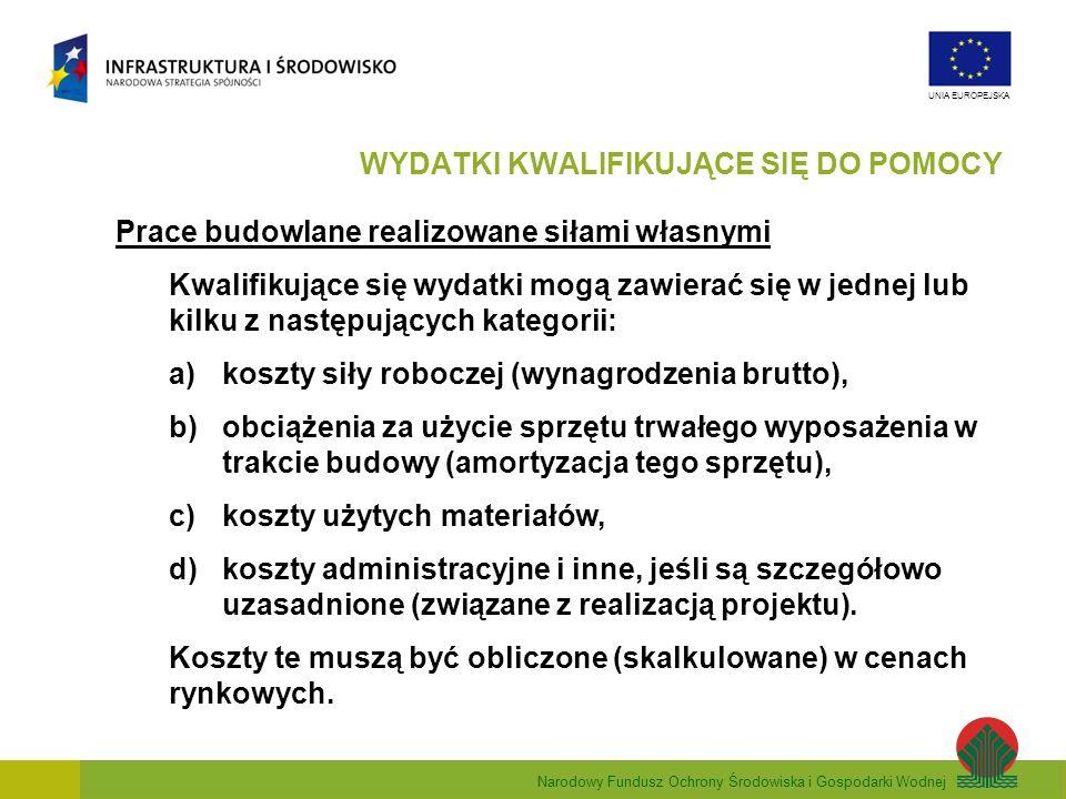 Narodowy Fundusz Ochrony Środowiska i Gospodarki Wodnej UNIA EUROPEJSKA Prace budowlane realizowane siłami własnymi Kwalifikujące się wydatki mogą zaw