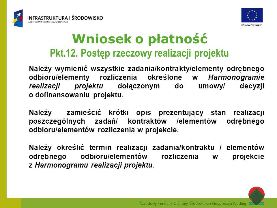 Narodowy Fundusz Ochrony Środowiska i Gospodarki Wodnej UNIA EUROPEJSKA Wniosek o płatność Pkt.12. Postęp rzeczowy realizacji projektu Należy wymienić