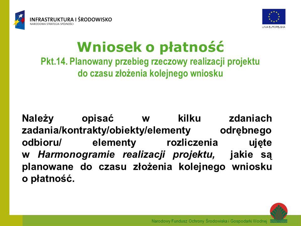 Narodowy Fundusz Ochrony Środowiska i Gospodarki Wodnej UNIA EUROPEJSKA Wniosek o płatność Pkt.14. Planowany przebieg rzeczowy realizacji projektu do