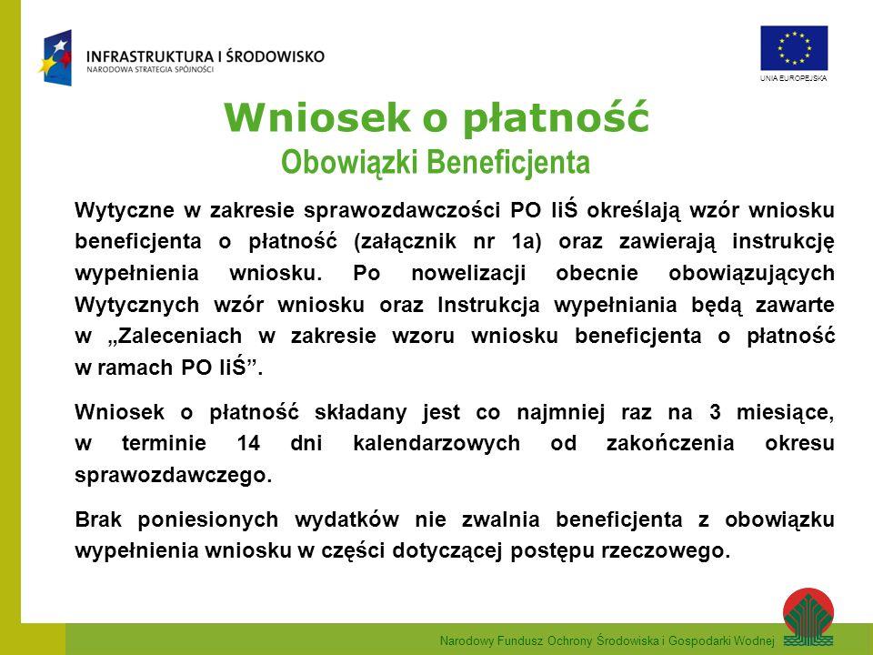 Narodowy Fundusz Ochrony Środowiska i Gospodarki Wodnej UNIA EUROPEJSKA Wniosek o płatność Pkt.12.