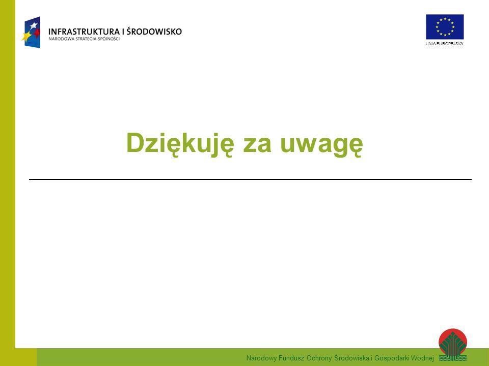 Narodowy Fundusz Ochrony Środowiska i Gospodarki Wodnej UNIA EUROPEJSKA Dziękuję za uwagę