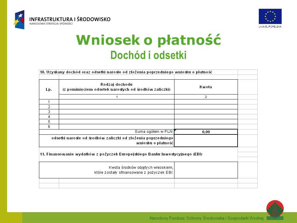 Narodowy Fundusz Ochrony Środowiska i Gospodarki Wodnej UNIA EUROPEJSKA Wniosek o płatność Pkt.17.