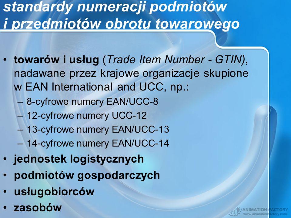 standardy numeracji podmiotów i przedmiotów obrotu towarowego towarów i usług (Trade Item Number - GTIN), nadawane przez krajowe organizacje skupione