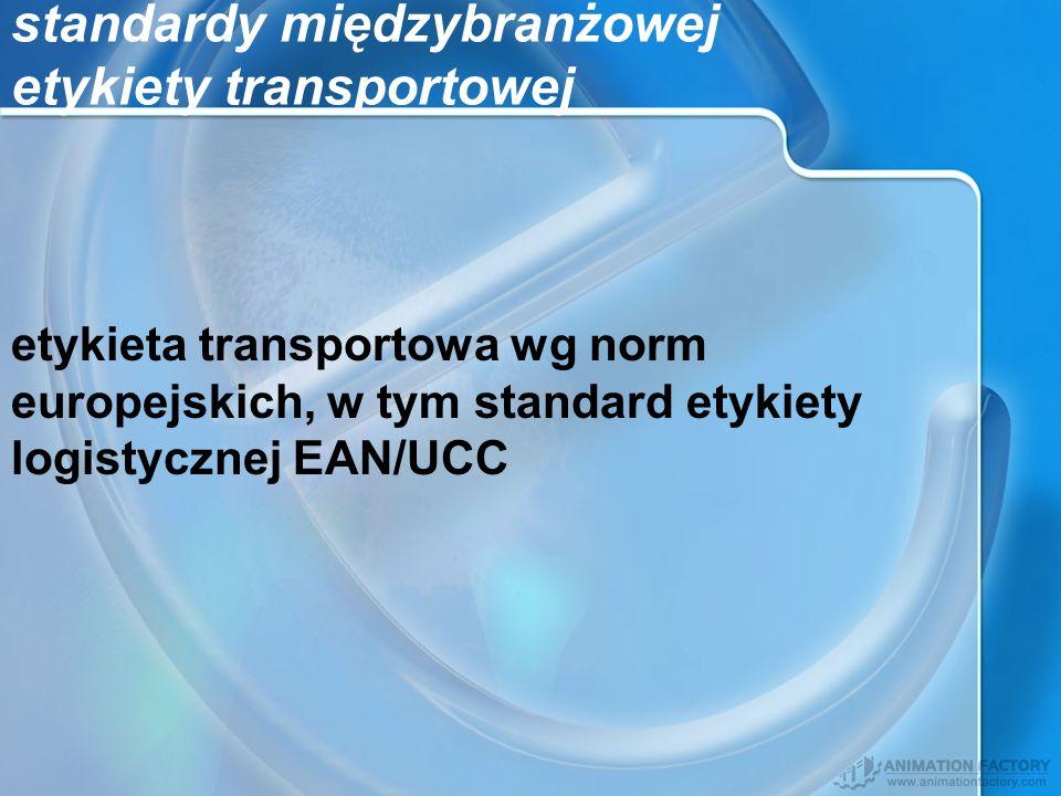 standardy międzybranżowej etykiety transportowej etykieta transportowa wg norm europejskich, w tym standard etykiety logistycznej EAN/UCC