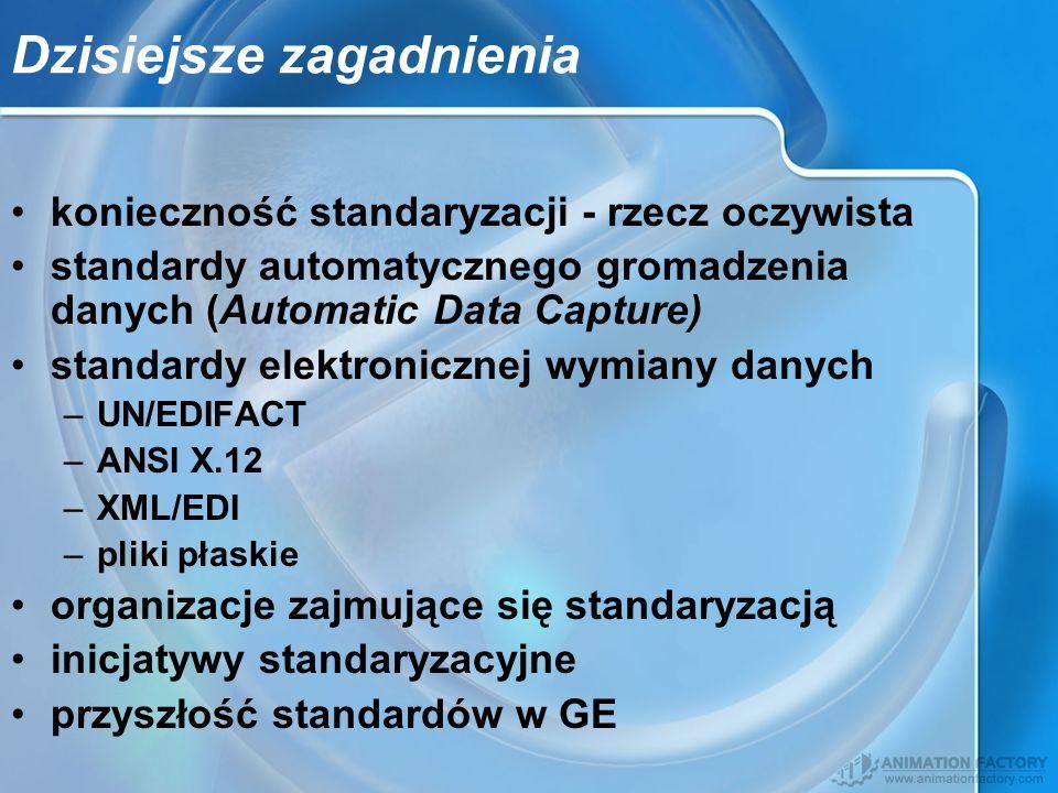 Dzisiejsze zagadnienia konieczność standaryzacji - rzecz oczywista standardy automatycznego gromadzenia danych (Automatic Data Capture) standardy elek