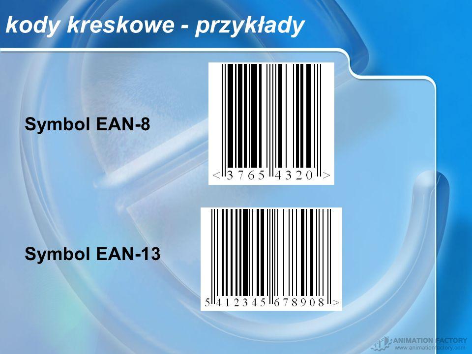 kody kreskowe - przykłady Symbol EAN-8 Symbol EAN-13