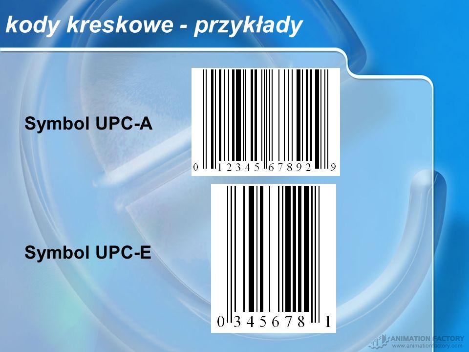 kody kreskowe - przykłady Symbol UPC-A Symbol UPC-E