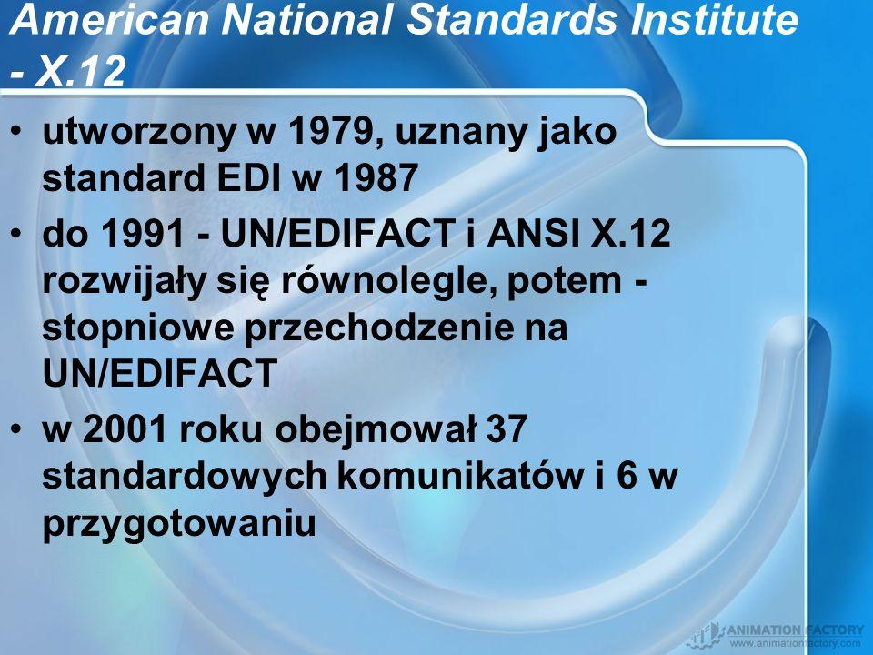 American National Standards Institute - X.12 utworzony w 1979, uznany jako standard EDI w 1987 do 1991 - UN/EDIFACT i ANSI X.12 rozwijały się równoleg