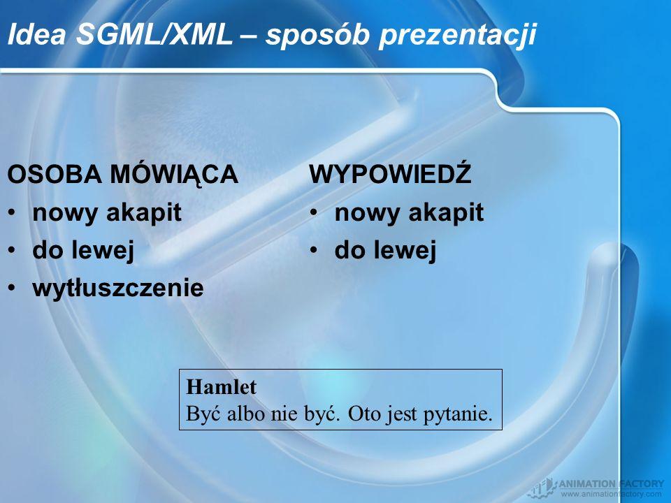 Idea SGML/XML – sposób prezentacji OSOBA MÓWIĄCA nowy akapit do lewej wytłuszczenie WYPOWIEDŹ nowy akapit do lewej Hamlet Być albo nie być. Oto jest p