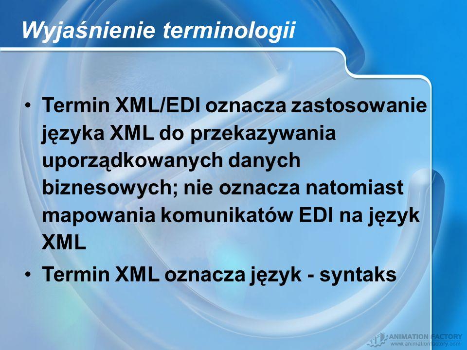 Wyjaśnienie terminologii Termin XML/EDI oznacza zastosowanie języka XML do przekazywania uporządkowanych danych biznesowych; nie oznacza natomiast map