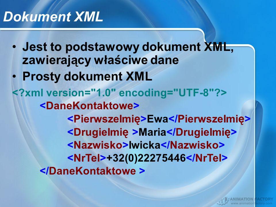 Jest to podstawowy dokument XML, zawierający właściwe dane Prosty dokument XML Ewa Maria Iwicka +32(0)22275446 Dokument XML
