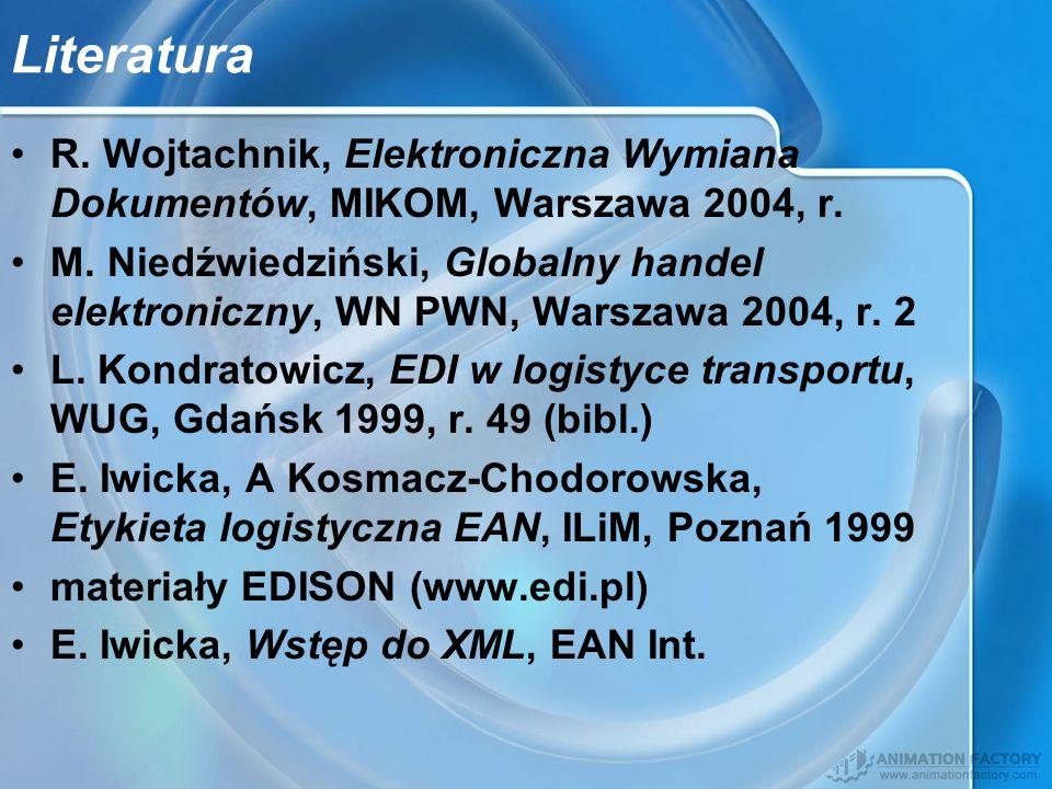 Literatura R. Wojtachnik, Elektroniczna Wymiana Dokumentów, MIKOM, Warszawa 2004, r. M. Niedźwiedziński, Globalny handel elektroniczny, WN PWN, Warsza