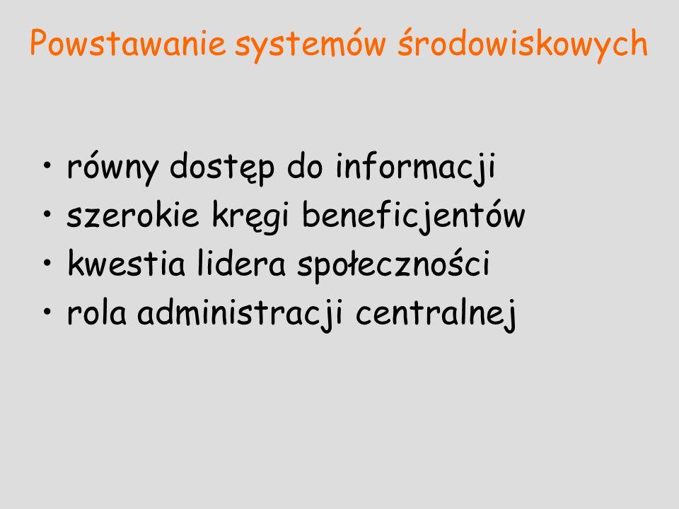Powstawanie systemów środowiskowych równy dostęp do informacji szerokie kręgi beneficjentów kwestia lidera społeczności rola administracji centralnej