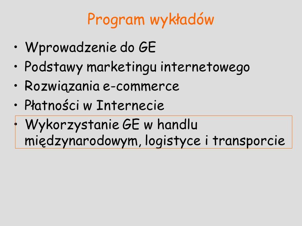 Program wykładów Wprowadzenie do GE Podstawy marketingu internetowego Rozwiązania e-commerce Płatności w Internecie Wykorzystanie GE w handlu międzyna