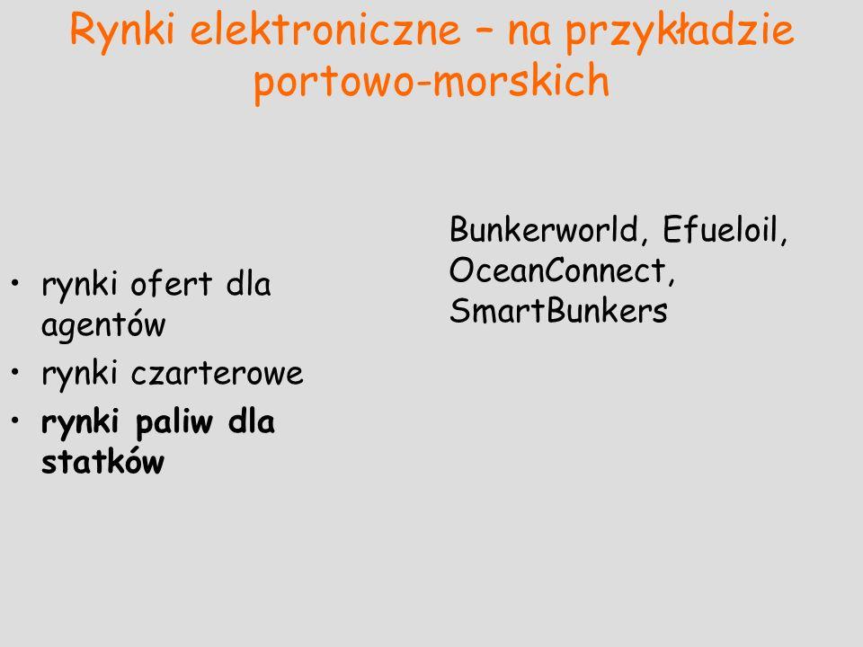 Rynki elektroniczne – na przykładzie portowo-morskich rynki ofert dla agentów rynki czarterowe rynki paliw dla statków Bunkerworld, Efueloil, OceanCon