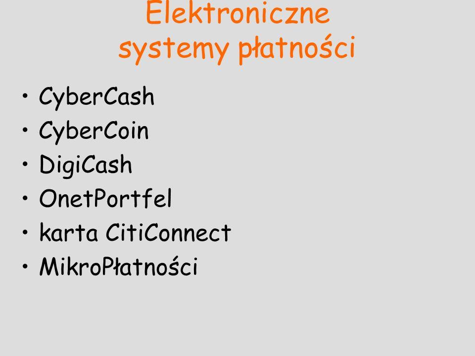 Elektroniczne systemy płatności CyberCash CyberCoin DigiCash OnetPortfel karta CitiConnect MikroPłatności