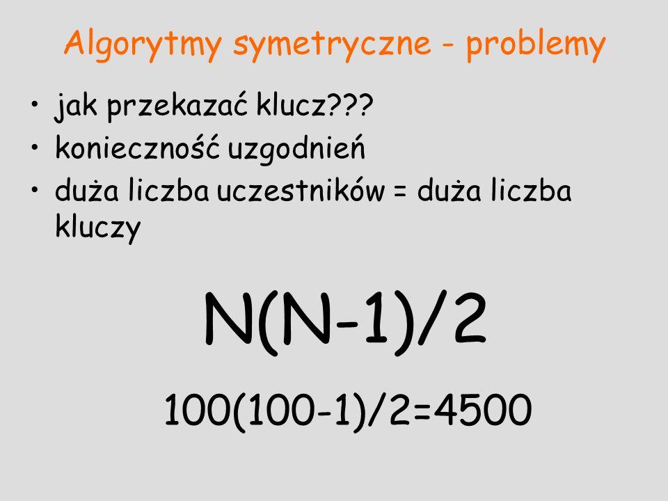 Algorytmy symetryczne - problemy jak przekazać klucz??? konieczność uzgodnień duża liczba uczestników = duża liczba kluczy N(N-1)/2 100(100-1)/2=4500
