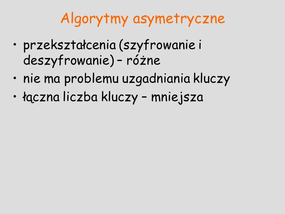 Algorytmy asymetryczne przekształcenia (szyfrowanie i deszyfrowanie) – różne nie ma problemu uzgadniania kluczy łączna liczba kluczy – mniejsza
