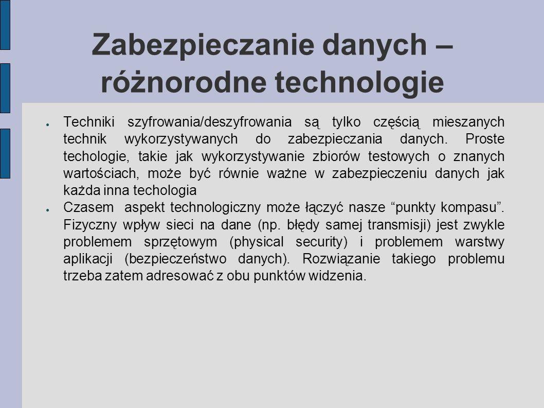 Zabezpieczanie danych – różnorodne technologie Techniki szyfrowania/deszyfrowania są tylko częścią mieszanych technik wykorzystywanych do zabezpieczan