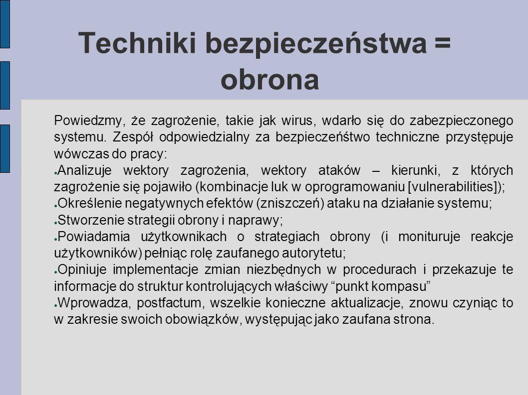 Techniki bezpieczeństwa = obrona Powiedzmy, że zagrożenie, takie jak wirus, wdarło się do zabezpieczonego systemu. Zespół odpowiedzialny za bezpieczeń