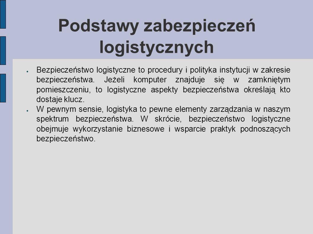 Podstawy zabezpieczeń logistycznych Bezpieczeństwo logistyczne to procedury i polityka instytucji w zakresie bezpieczeństwa. Jeżeli komputer znajduje