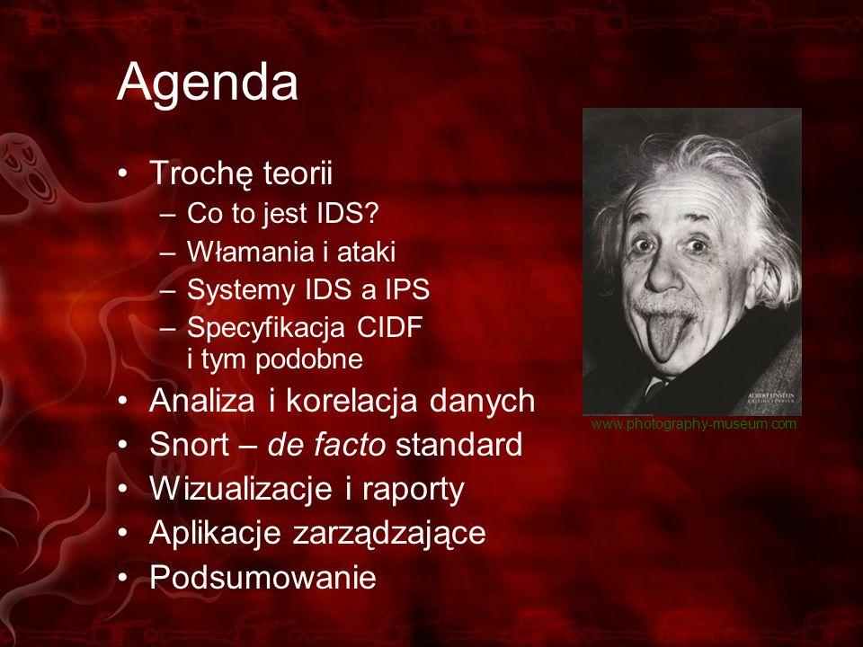 Agenda Trochę teorii –Co to jest IDS? –Włamania i ataki –Systemy IDS a IPS –Specyfikacja CIDF i tym podobne Analiza i korelacja danych Snort – de fact