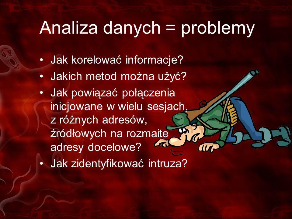 Analiza danych = problemy Jak korelować informacje? Jakich metod można użyć? Jak powiązać połączenia inicjowane w wielu sesjach, z różnych adresów, źr