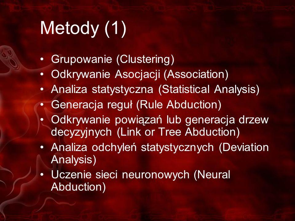 Metody (1) Grupowanie (Clustering) Odkrywanie Asocjacji (Association) Analiza statystyczna (Statistical Analysis) Generacja reguł (Rule Abduction) Odk