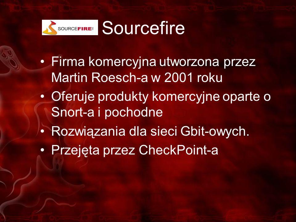 Sourcefire Firma komercyjna utworzona przez Martin Roesch-a w 2001 roku Oferuje produkty komercyjne oparte o Snort-a i pochodne Rozwiązania dla sieci