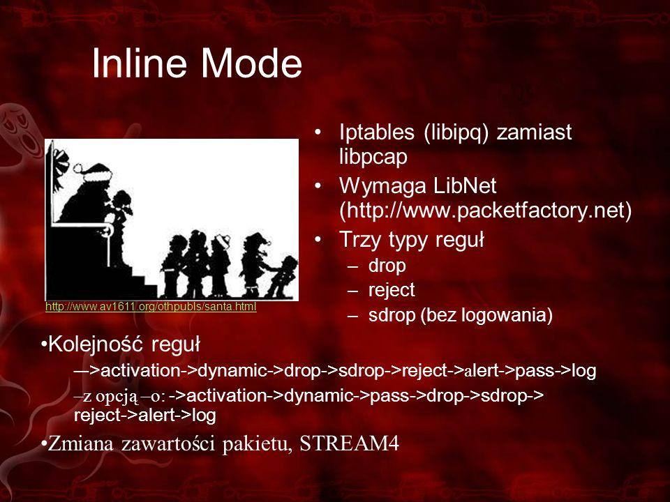 Inline Mode Iptables (libipq) zamiast libpcap Wymaga LibNet (http://www.packetfactory.net) Trzy typy reguł –drop –reject –sdrop (bez logowania) Kolejn