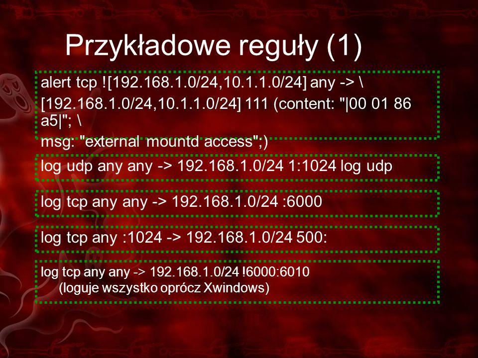 Przykładowe reguły (1) log tcp any any -> 192.168.1.0/24 !6000:6010 (loguje wszystko oprócz Xwindows) log tcp any :1024 -> 192.168.1.0/24 500: log udp