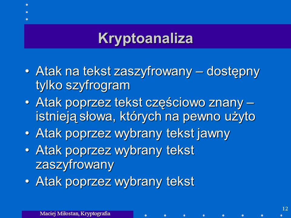 Maciej Miłostan, Kryptografia 12 Kryptoanaliza Atak na tekst zaszyfrowany – dostępny tylko szyfrogramAtak na tekst zaszyfrowany – dostępny tylko szyfr