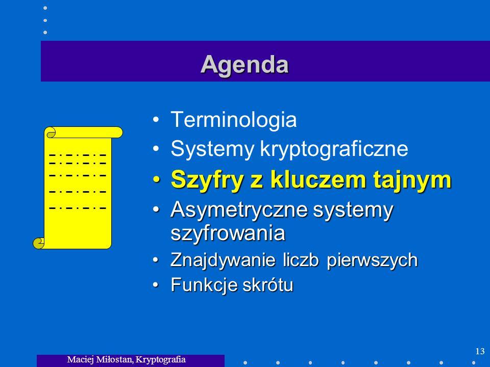 Maciej Miłostan, Kryptografia 13 Agenda Terminologia Systemy kryptograficzne Szyfry z kluczem tajnymSzyfry z kluczem tajnym Asymetryczne systemy szyfr