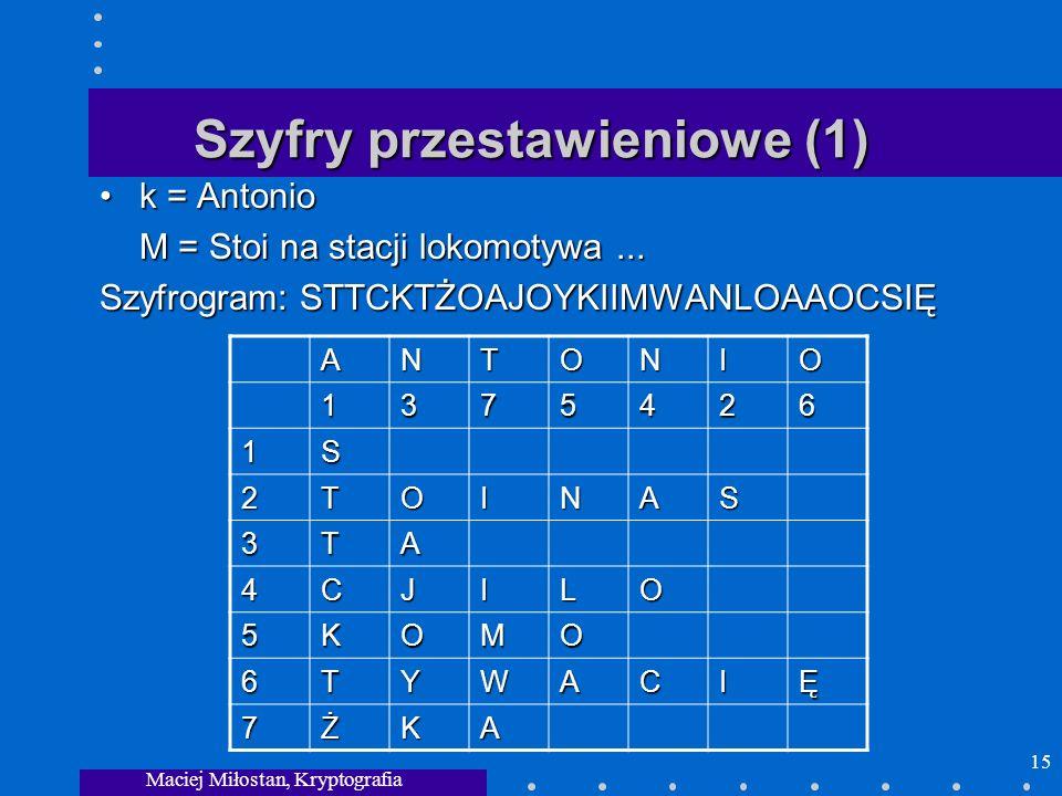 Maciej Miłostan, Kryptografia 15 Szyfry przestawieniowe (1) k = Antoniok = Antonio M = Stoi na stacji lokomotywa... Szyfrogram: STTCKTŻOAJOYKIIMWANLOA