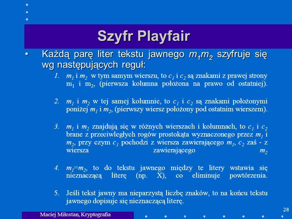 Maciej Miłostan, Kryptografia 28 Szyfr Playfair Każdą parę liter tekstu jawnego m 1 m 2 szyfruje się wg następujących reguł:Każdą parę liter tekstu ja