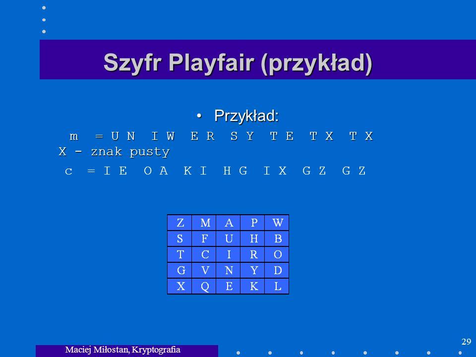 Maciej Miłostan, Kryptografia 29 Szyfr Playfair (przykład) Przykład: m= U N I WE R S Y T E T X T X X - znak pustyPrzykład: m= U N I WE R S Y T E T X T